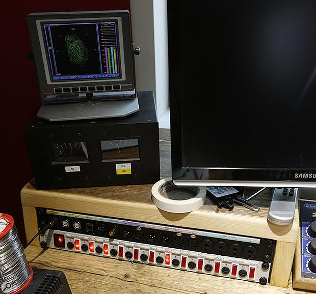 Studio SOS June 2020 - left side of Hugh's desk with DK meter.