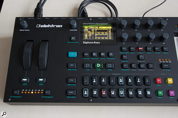 The sequencer and sound-shaping controls are all found at the left-hand end of the Digitone Keys.