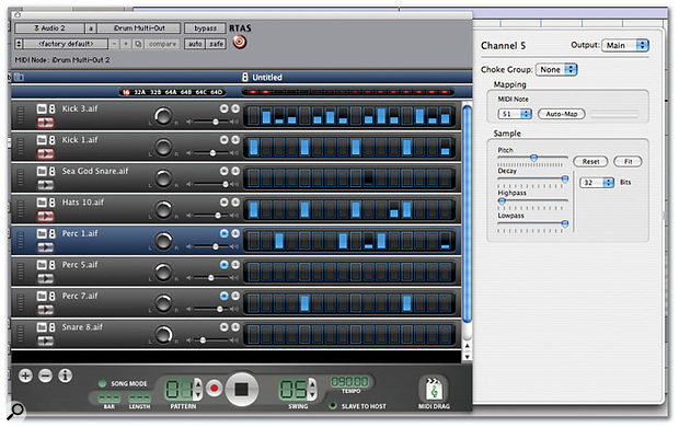 Using the RTAS version of iDrum in multi-channel mode under Pro Tools.
