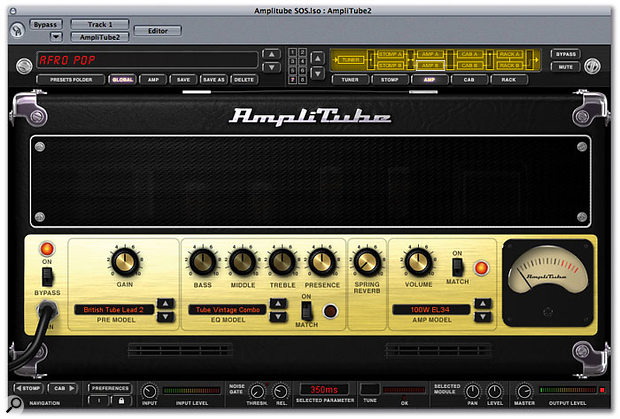 By default, choices of preamp, EQ and amp model are linked, but you can mix and match to create hybrid designs.