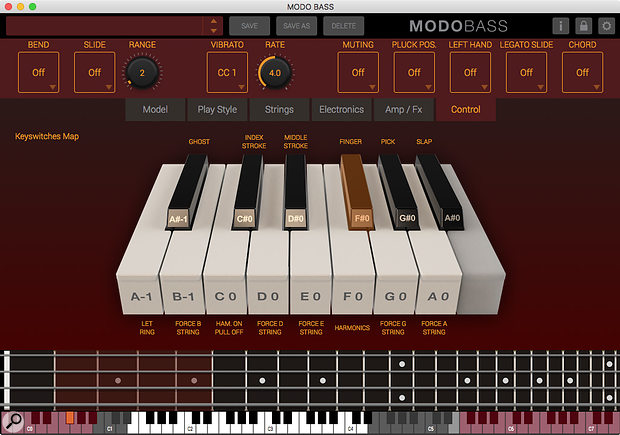 Modo Bass offers real-time control via the lower MIDI notes.