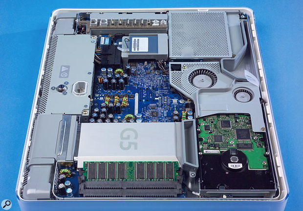 The iMac G5 crams a large number of the features of Apple's Power Mac G5 system into a surprisingly small space.