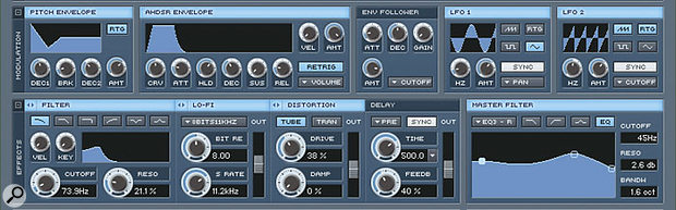 The sampler functions are complemented by various modulation and effects options.