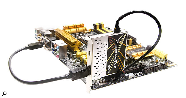 While Thunderbolt capability can be added to some motherboards via a  PCIe card such as this ASUS model, note that it's not quite as straightforward as adding USB or Firewire ports in this way: usually, a dedicated header is required on the motherboard.