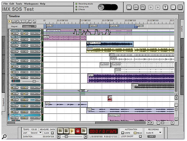 Intuitive MX's Montage window is its equivalent of the Arrange page found in most recording programs.