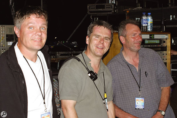 Pete Hughes, Canegreen's man in charge of special projects (centre), with two of his 11-strong PA crew, at 2004's Festival.