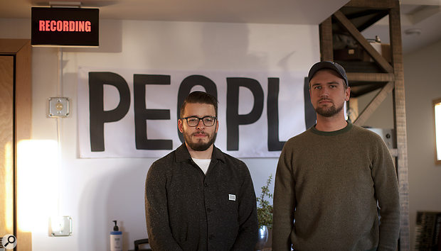 Recording People: Chris Messina (left) and Zach Hanson at April Base Studios.