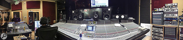 Hardwired... To Self-Destruct was mixed by Greg Fidelman on the main SSL desk at Metallica HQ. This panoramic shot shows the Neve sidecar on the left and some of the studio's extensive collection of outboard on the right.
