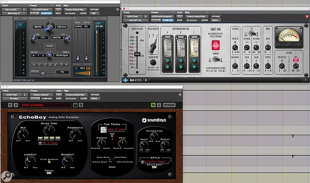 To create his 'AC/DC' plate reverb sound, Greg Fidelman pre-delays the feed to a UA EMT140 plate emulation and modulates it using the Avid Mod Delay effect.