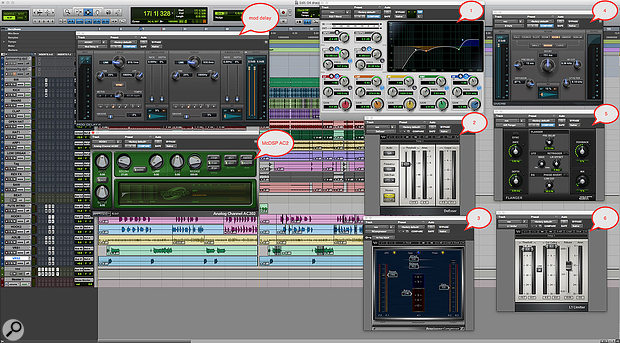 This screen shows the plug-in chains used by Seth Firkins on Future's vocals, with his own annotations. The AIR Mod Delay and McDSP Analog Channel are used as channel inserts on each vocal track. All the vocal tracks are then bussed through the six plug-ins to the right.