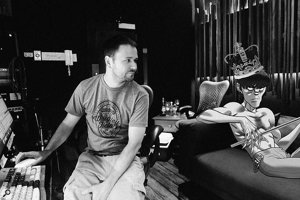Stephen Sedgwick talks over an idea with Gorillaz's Murdoc Niccals at GeeJam Studios, Jamaica.