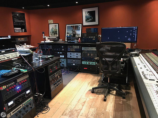 The control room at Damon Albarn's 13 Studios is well-equipped with instruments and outboard gear.