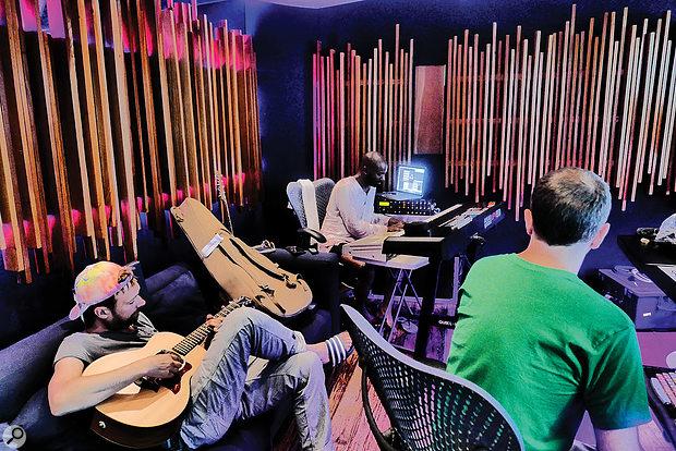 Damon Albarn, Anthony Khan and Stephen Sedgwick at GeeJam Studios, Jamaica.