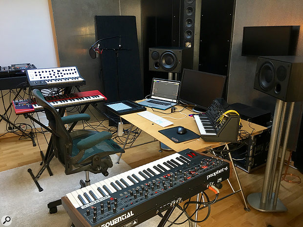 Unlike Espen Berg, Simen Eriksrud keeps several hardware instruments around. Visible here are his Sequential Prophet 6, Korg MS20, Moog Little Phatty and Clavia Nord Lead.