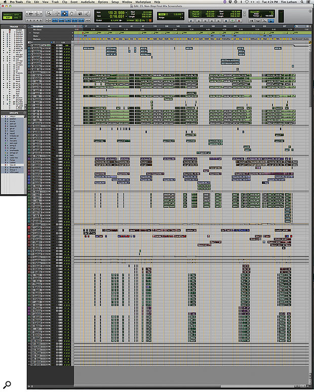 This composite screenshot shows the entire Pro Tools session for Tim Latham's mix of 'Non-Stop'. The sheer scale of the task, and the fact that similar miking setups were used throughout, meant that he could begin with a  template session for most of the songs.