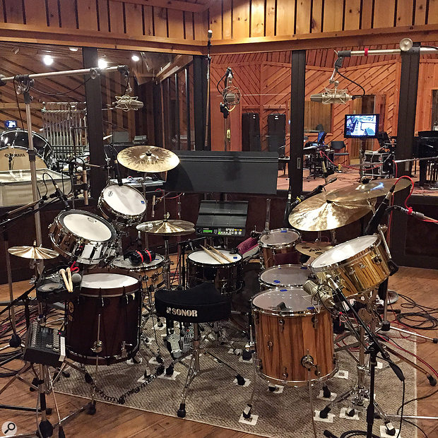 The pace of the recording sessions meant that Derik Lee had to stick to a  single drum-miking scheme for all the songs. Note the three overhead mics in LCR configuration.