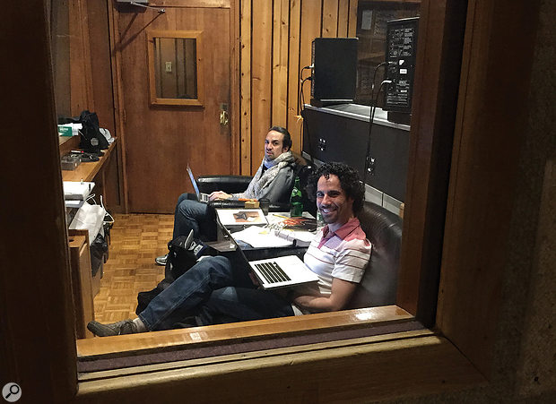 Hamilton creator Lin-Manuel Miranda (left) and musical director Alex Lacamoire at Avatar Studios during the recording of the soundtrack.