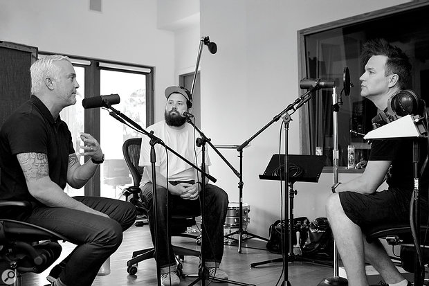 John Feldmann (left) in the Foxy Studios live room, with James M Ingram and Mark Hoppus, recording a podcast for Mark's clothing company.