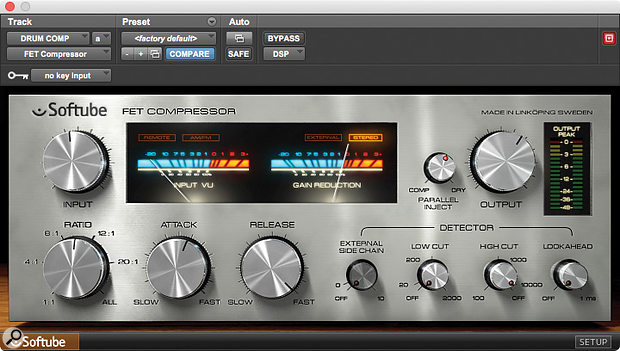 Softube's FET Compressor, as used here on the drum bus, is one of five plug-ins that Zakk Cervini singles out as being crucial to his mix.