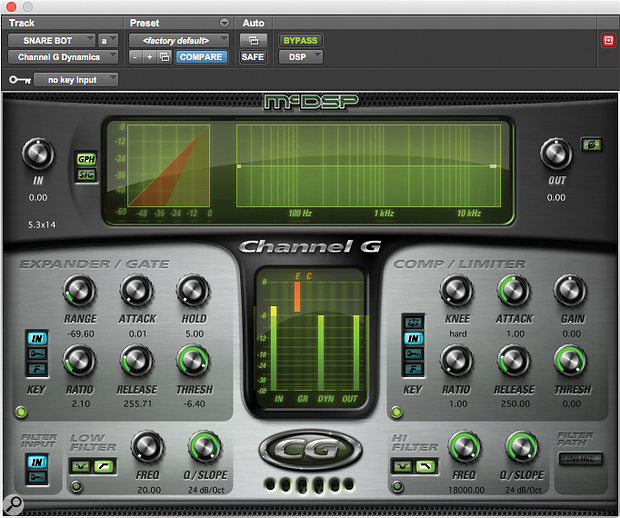 The snare bottom and top mic tracks received complementary EQ and dynamics treatments from McDSP's G Channel and Waves' SSL Channel.