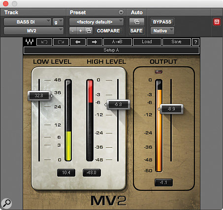 Another of Cervini's five key plug-ins is Waves' MV2, employed here on the bass DI track.