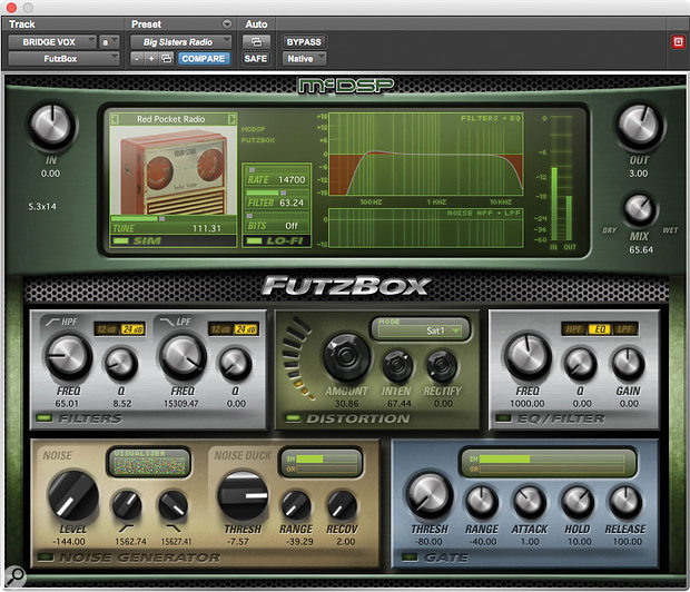 McDSP's FutzBox distortion, another one of Cervini's five core plug-ins, in action on the 'Bridge Vox' track.