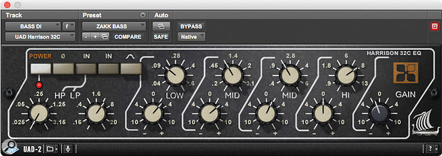Zakk Cervini cites the UA Harrison EQ plug-in as another favourite, used here on the bass DI track.