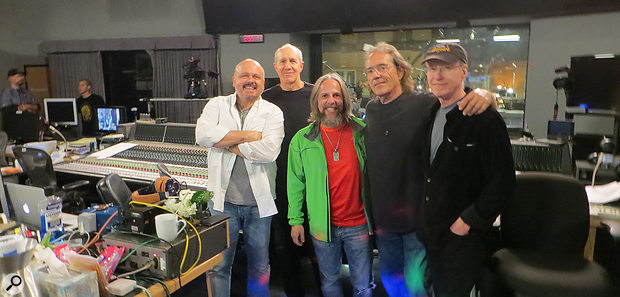 The 'A' team behind Barbra Streisand's Encore. From left: producer and arranger Walter Afanasieff, arranger William Ross, David Reitzas, drummer Vinnie Colaiuta and guitarist Dean Parks.