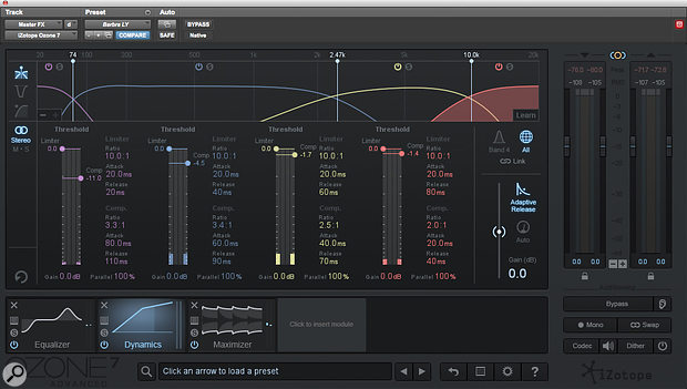 The Ozone 7 mastering plug-in from iZotope took care of stereo bus processing duties.