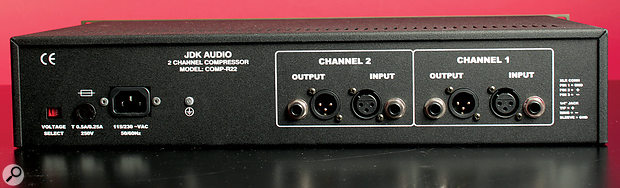 The audio I/O is presented on balanced jacks and XLRs, but there's no external side‑chain input.