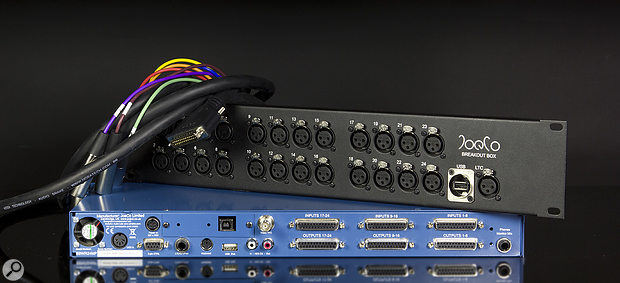 The rear panel interfaces with the analogue world via D-Sub connectors, which is inevitable given the number of channels, but there's also an optional breakout box which can present the mic inputs as XLRs.