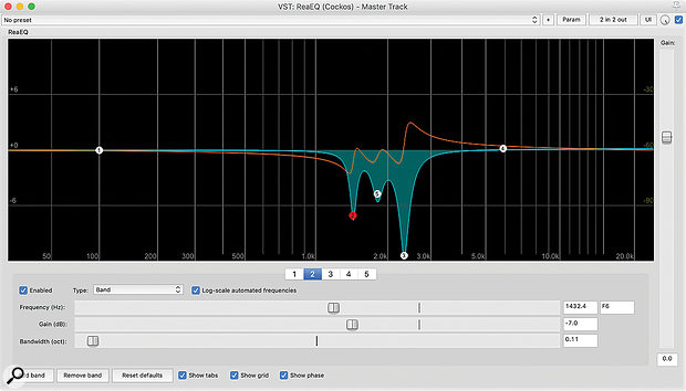These EQ screens show the different effect on the phase response of three narrow cuts versus one broader dip. It's often better if you're able to focus on what's good about a  sound, rather than attending to every little problem!