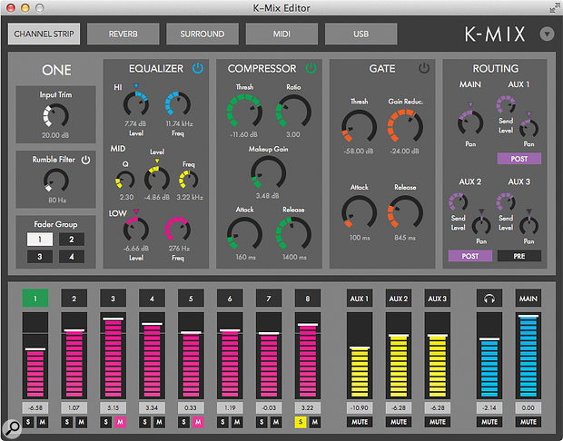 Channel processing in the K-Mix Editor software.