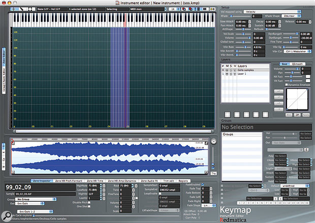 Keymap's instrument editor provides access to extensive parameter settings for zones, layers, setup and groups.