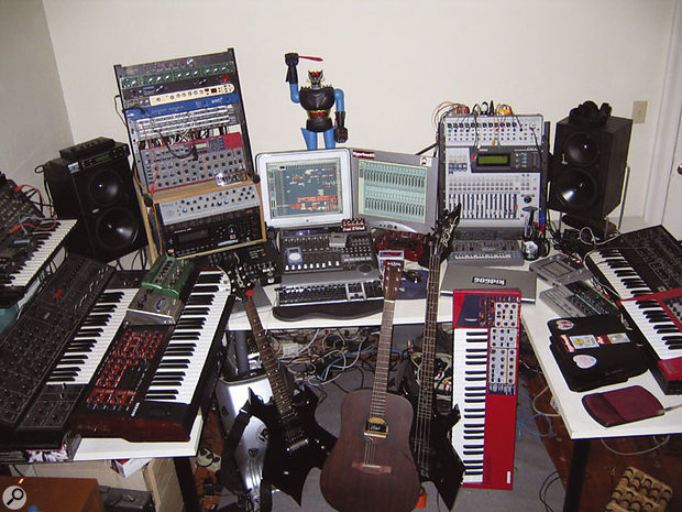 Kid 606's studio is based around Apple Macs running Logic with a Logic Control fader surface, MOTU 2408 interface and Yamaha 01v digital desk. Synths include (left) a Korg MS20, Yamaha CS30 and Access Virus kb, and (right) Sequential Pro-One, Clavia Nord Lead 2 and Nord Modular.