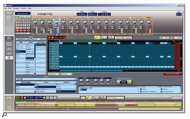 Kinetic's main, and only, screen, in its Edit All mode. The drum pattern illustrated in the middle is shown in Advanced Editor mode, and shows velocity data as shaded columns behind drum hits.