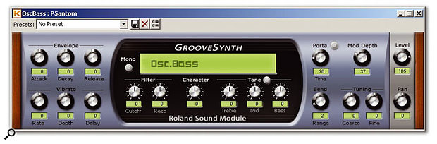 The Roland-inspired Groovesynth, showing the layout for a standard voice.