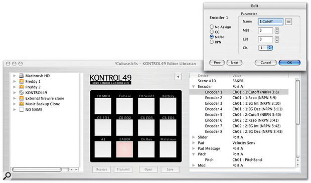 The editor/librarian enables you to speedily assemble sets of Scenes and gives you visual access to all the Kontrol 49's various control elements. Double-clicking on any item brings up a smaller menu (shown top right) where you can quickly input values and name names. When you're finished, you can upload the Scenes via USB to the keyboard. Names of parameters appear on the LED scribble strips to give you vital feedback on which slider/rotary control is assigned to what, though the eight-character limit makes some descriptions rather cryptic.