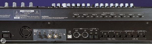 Korg D32XD rear panel.