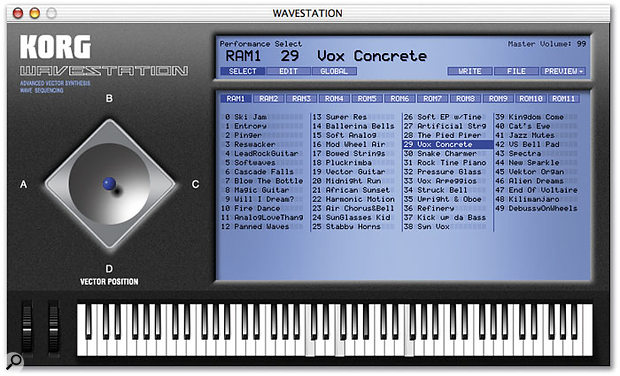 The Legacy Wavestation's Performance Select page.