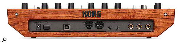The Monologue's wooden behind contains a socket for the optional power supply, a  USB port, MIDI I/O ports, 3.5mm sync in and out sockets and, all on quarter-inch jacks, audio in, audio out and headphone sockets.