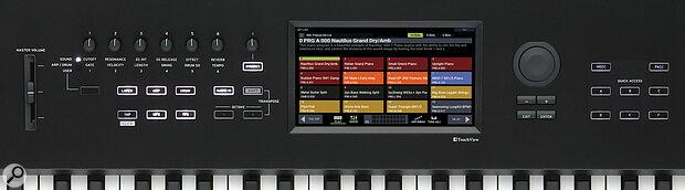 Korg Nautilus touch-sensitive display and controls.