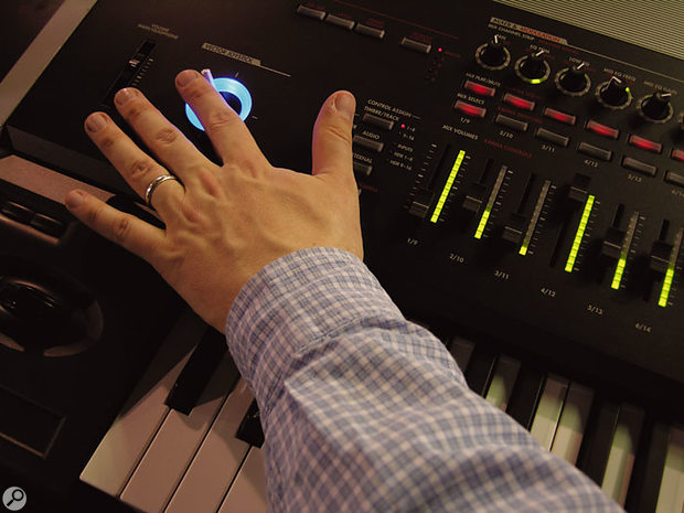 The joystick controllers recall classic Korg synths like the Wavestation.