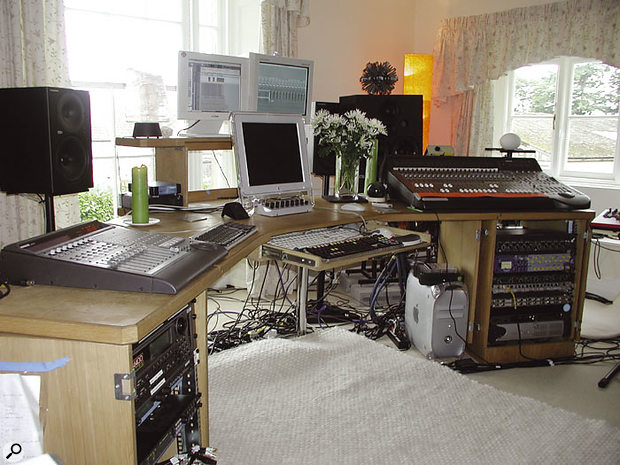 The farmhouse's control room, with Mackie D8b digital desk (right) and Mackie Control fader surface (left).