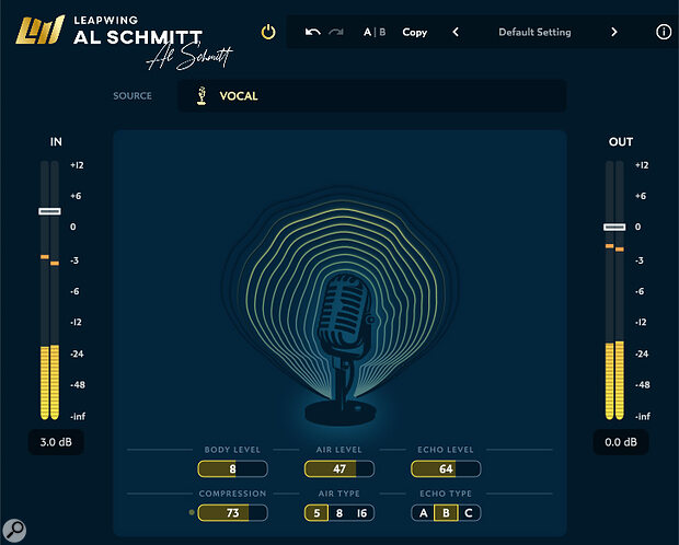 The Vocal profile provides acombination of EQ, compression and echo (actually it's reverb, but Al apparently refers to it as echo, because he so often uses physical 'echo chambers' to create it).