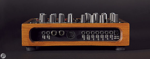 The LepLoop's rear panel contains a  host of CV, Gate and Clock outputs on 3.5mm sockets, a MIDI input and quarter-inch outputs for the Cassa (kick drum) and synth.