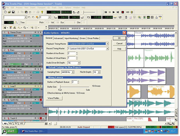 A Pro Tracks Plus project, with its Audio Options dialogue box floating above.