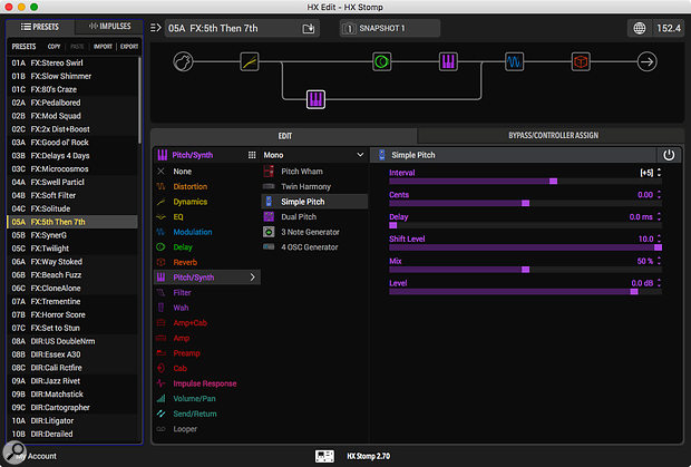 The HX Edit software makes setting up amp and effects chains easier and is free to download.