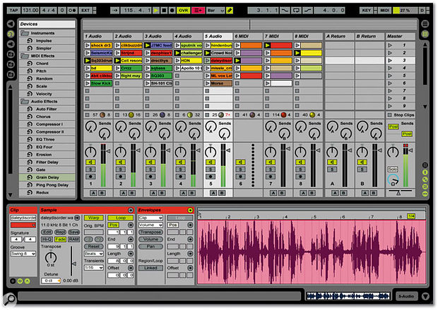 The Session view provides mixing facilities, but also allows you to prepare clips for triggering via MIDI or using the QWERTY keyboard. At the bottom of the screen is the clip view, where parameters for individual audio and MIDI clips are adjusted.