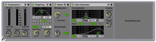 Live supports VST and Audio Units plug-ins, and also includes a selection of proprietary effects.